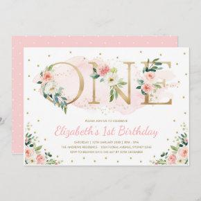 Pink Gold Floral Roses 1st First Birthday Party Invitation