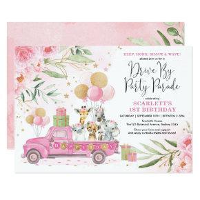 Pink Gold Floral Safari Drive By Birthday Parade Invitation