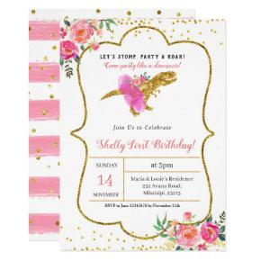 Pink Gold GIRL DINOSAUR BIRTHDAY Invitation