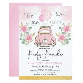 Pink Gold Girls Drive By Birthday Party Parade Invitation