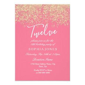 Pink Gold Glitter Confetti 12th Birthday Party Invitation