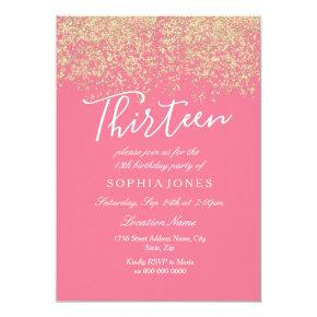 Pink Gold Glitter Confetti 13th birthday party Invitations