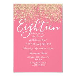 Pink Gold Glitter Confetti 18th birthday party Invitation