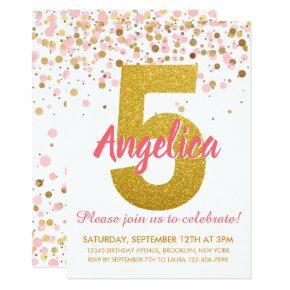 Pink Gold Glitter Confetti Girl Fifth Birthday Invitation