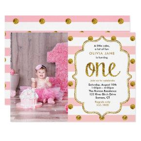Pink, Gold Glitter First Birthday Photo Invitations