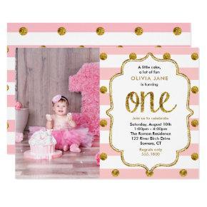 Pink, Gold Glitter First Birthday Photo Invitations