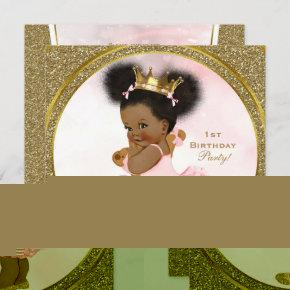 Pink Gold Glitter Princess Vintage Baby Girl Party Invitation
