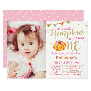 Pink Gold Glitter Pumpkin Baby 1st Birthday Photo Invitation