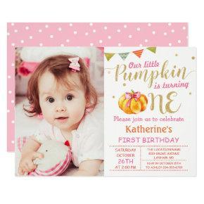 Pink Gold Glitter Pumpkin Baby 1st Birthday Photo Invitations