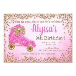 Pink & Gold Glitter Roller Skate Girl's Birthday Invitation