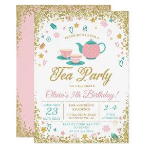 Pink Gold Glitter Tea Party Girls Birthday Invitation