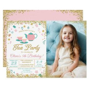 Pink Gold Glitter Tea Party Girls Birthday Photo Invitation