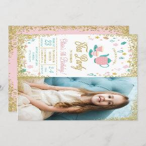 Pink Gold Glitter Tea Party Girls Birthday Photo Invitation