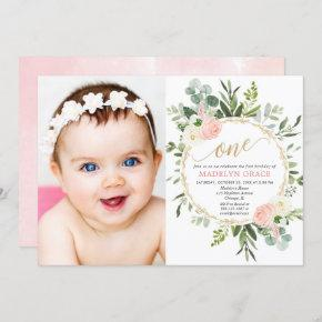 Pink gold greenery elegant girl 1st birthday photo invitation