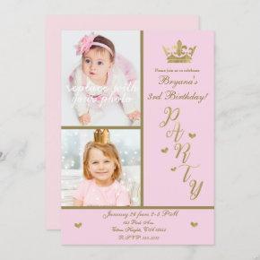 Pink & Gold Hearts Princess Crown 2 Photo Party Invitation