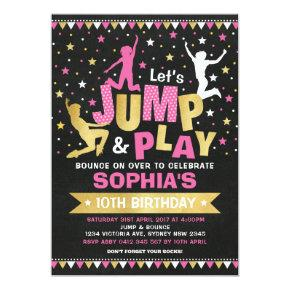 Pink Gold Jump Birthday Trampoline Bounce House Invitation