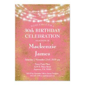 Pink Gold Lights Birthday Party Invitations Adult