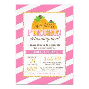 Pink Gold Little Pumpkin Girl First Birthday Invitations