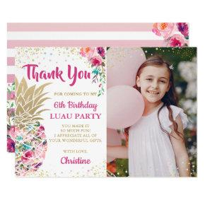 Pink Gold Pineapple Birthday Photo Thank You Card