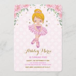 Pink Gold Princess Ballerina Tutu Birthday Invite
