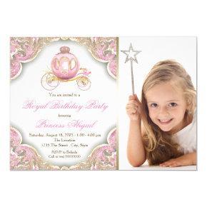 Pink Gold Princess Photo Birthday Party Invitations