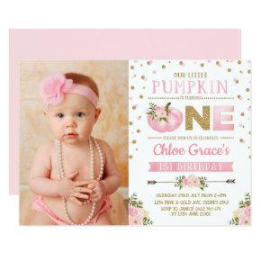 Pink Gold Pumpkin 1st Birthday Invite Autumn Fall