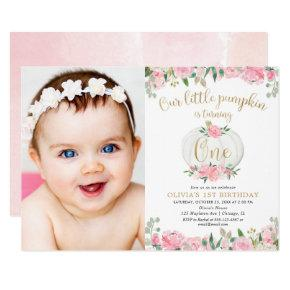 Pink gold pumpkin girl floral 1st birthday photo invitation