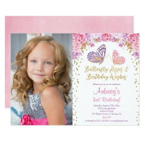 Pink gold purple elegant butterfly photo birthday invitation
