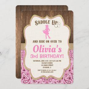 pink gold rustic cowgirl birthday  girl