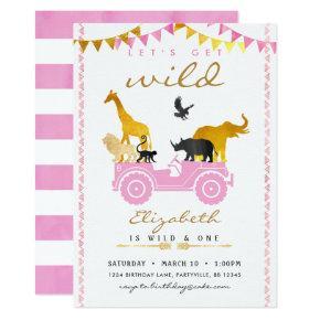 Pink Gold Safari Birthday Invitations