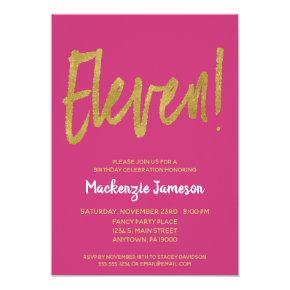 Pink Gold Script 11th Birthday Party Invitation