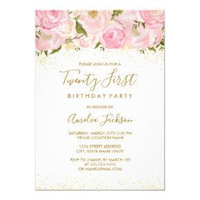 Pink Gold Sparkle Rose 21st Birthday Invitation