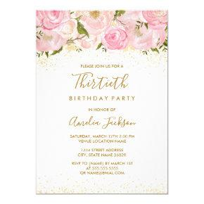 Pink Gold Sparkle Rose 30th Birthday Invitations