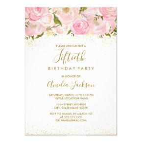 Pink Gold Sparkle Rose 50th Birthday Invitations