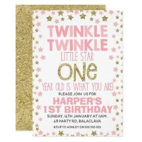 Pink Gold Twinkle Little Star Birthday Invitation