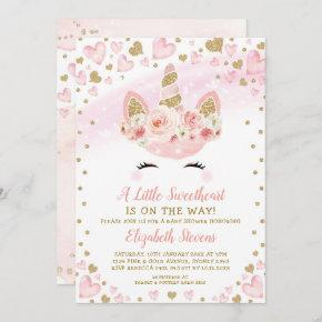 Pink Gold Unicorn Sweetheart Baby Shower Magical Invitation