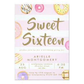Pink & Gold Watercolor Donuts Sweet 16 Party Invitation