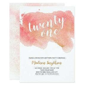 Pink Gold Watercolor twenty one Invitation