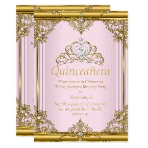 Pink Gold White Pearl Princess Quinceanera Blush Invitations