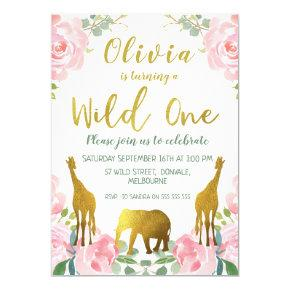 Pink Gold Wild One Jungle Birthday Invitation Girl