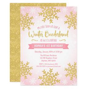 Pink Gold Winter ONEderland 1st Birthday Invite