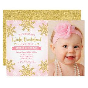 pink gold winter onederland 1st birthday photo invitations candied