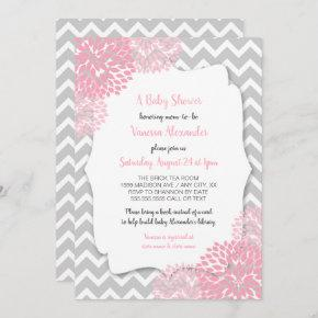 Pink Gray Floral baby shower + book request words Invitation