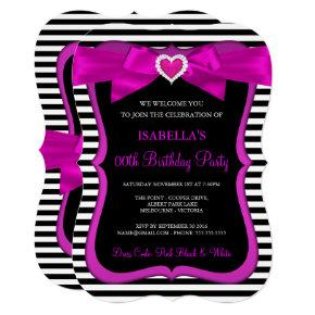 Pink Heart Bow Black White Stripe Birthday Party Invitation