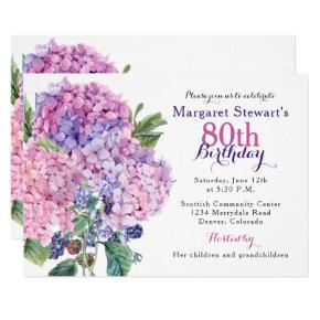 Pink Hydrangea Floral 80th Birthday Invite