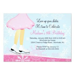 Pink Ice Skating Birthday Party Invitations