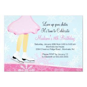 Pink Ice Skating Birthday Party Invitation