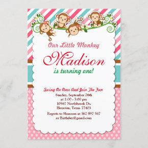 Pink Jungle Monkey Safari Animal Birthday Invitation