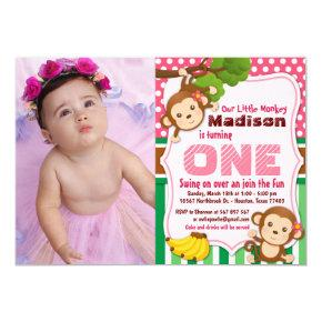 Pink Jungle Monkey Safari Girl Birthday Photo Invitation