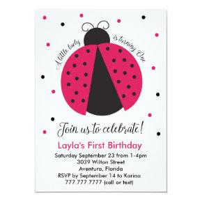 Pink Ladybug Baby Girl's First Birthday Invitation